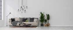 Modern interior design of a living room indoors apartment, home, office, soft sofa, fresh flowers and modern interior details on a white wall background.