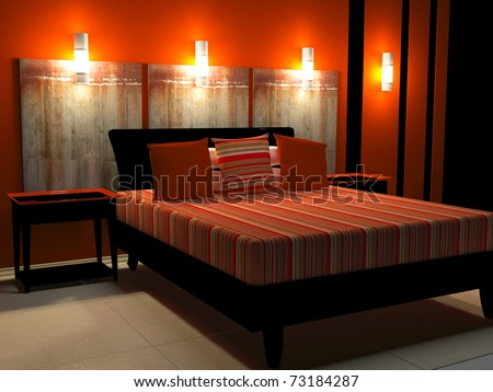 Modern interior design of black and red bedroom, 3d render