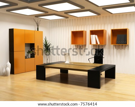 modern interior design of cabinet boss room(3D render)