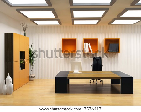 Modern Interior Design Of Cabinet Boss Room(3d Render) Stock Photo
