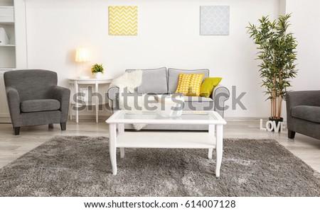 Modern interior design of living room #614007128