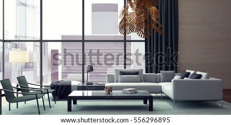 Modern interior design of living room 3D Rendering, 3D Illustration