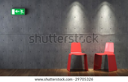 Interior Decorator on Modern Interior Design Of Two Red Chairs On Concrete Wall With