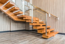 Modern interior design of wood stairs way in new office building