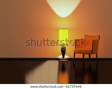 Modern Interior Design, Red Sofa Yellow Floor Lamp In The Empty ...