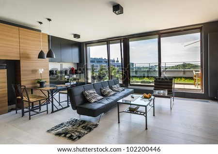 Modern interior design room with panoramic windows #102200446