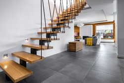 Modern interior design - stairs in wooden finishing