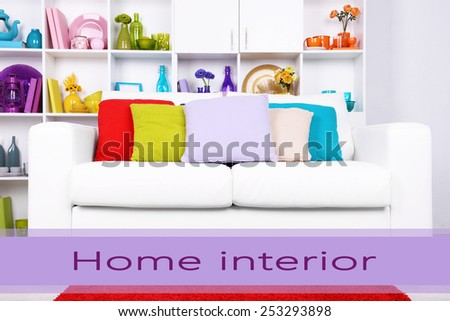 Modern interior design. White living room with sofa and bookcase. Home interior concept