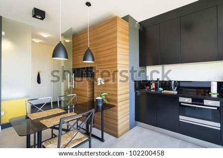 Modern interior design with kitchen and table