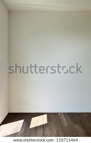 modern interior, empty apartment, wall white - stock photo