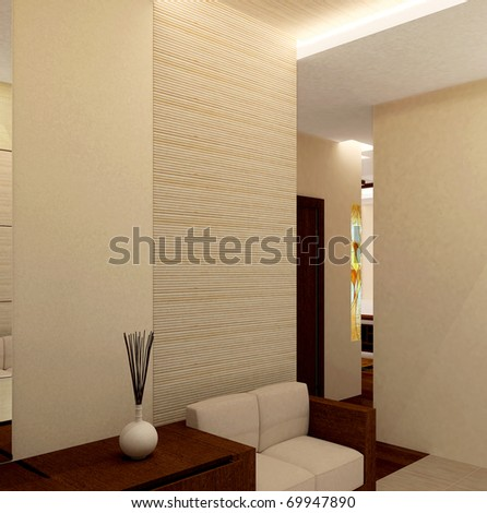 Modern Interior Entrance: Minimal Design Hallway Stock