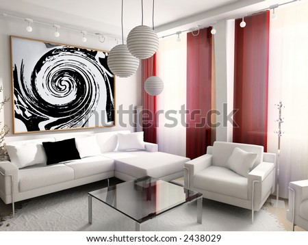 Modern Design Home on Modern  Interior  House  Dwelling  Design  Technology  3d Stock Photo