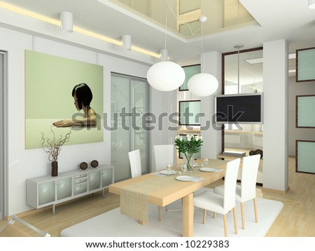 Interior Decorator on Modern Interior In Big House  Design Of Living Room  3d Render  Stock