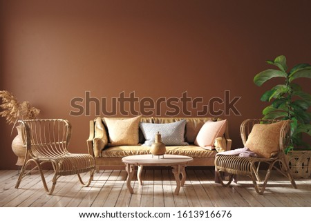 Modern interior in terracotta color  with leather sofa, rattan armchairs and flower, 3d render