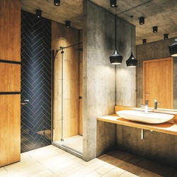 Modern interior of a bathroom.