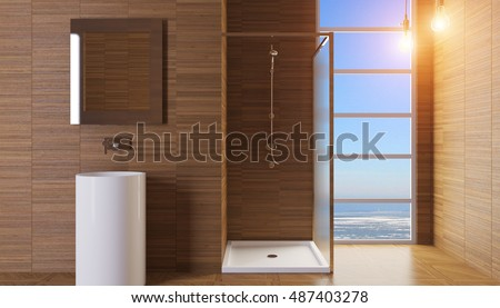 Modern interior of a bathroom in a city apartment. 3D Render #487403278