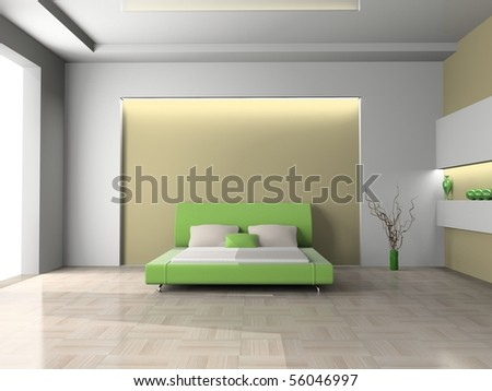 Modern interior of a bedroom room 3D - stock photo