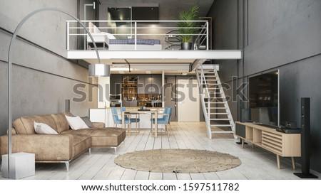 Modern interior of a duplex apartment. Modern apartment interior. Modern design of a small apartment. 3d illustration