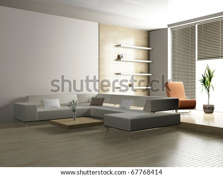 Modern interior of a living room  3D