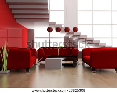 Modern interior of a loft 3d image - stock photo