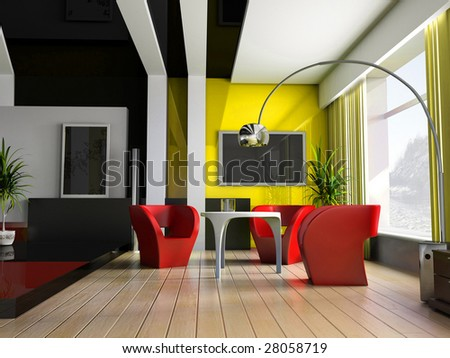 Modern interior of a room, exclusive design