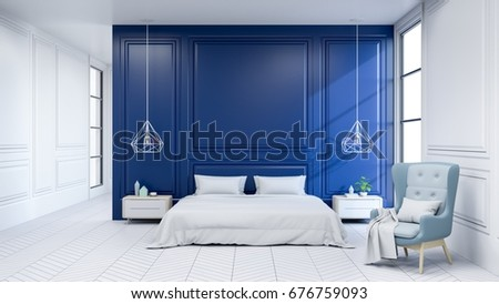 Modern interior of Bedroom ,white bed with light blue armchairs on white flooring and dark blue wall ,3d rendering