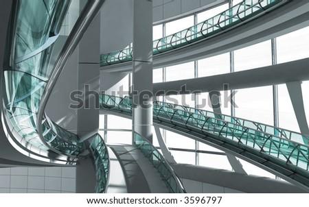 modern interior of business centre 3d render