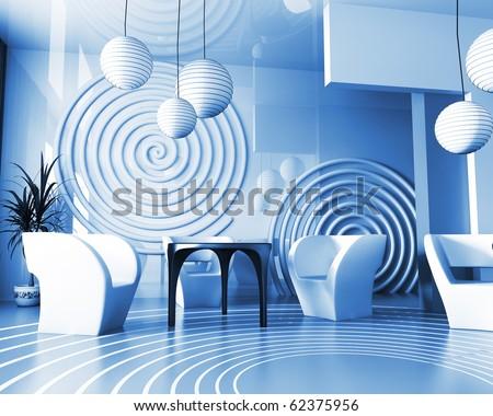 Modern interior of cafe in VERDE 3d image