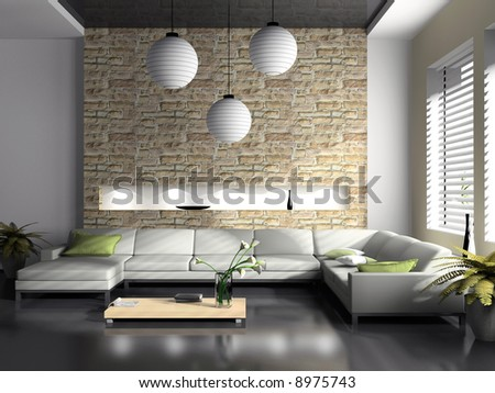 Modern Interior Of Drawing-Room 3d Rendering Stock Phot