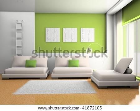 modern interior of living room 3D