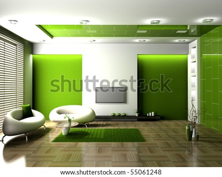 Living Room on Modern Interior Of Living Room 3d Stock Photo 55061248   Shutterstock