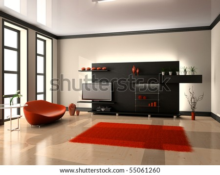 Modern Interior Of Living Room 3d Stock Photo 55061260