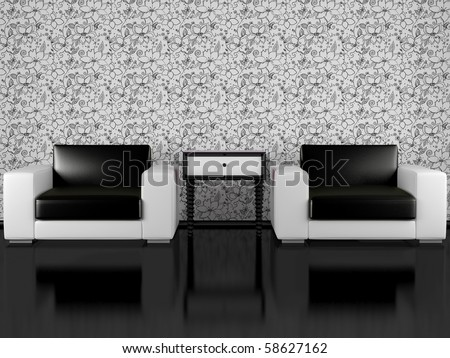 modern interior of living room, modern armchairs with bedside table in black and white living room with floral wallpaper, render/illustration