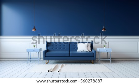 Modern interior of living room with armchairs on white flooring and dark blue wall .emptry room ,3d rendering