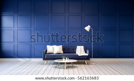 Modern interior of living room with armchairs on white flooring and dark blue wall .empty room ,3d rendering
