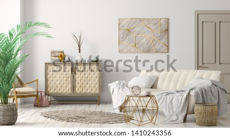 Modern interior of living room with sofa and cabinet, home design 3d rendering Сток-фото ©