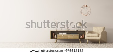 Modern interior of living room with wooden cabinet and armchair panorama 3d rendering