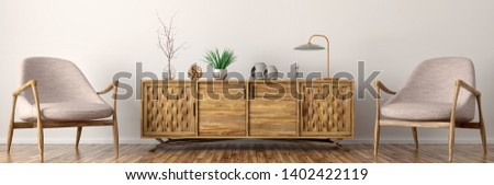 Modern interior of living room with wooden cabinet and armchairs panorama 3d rendering