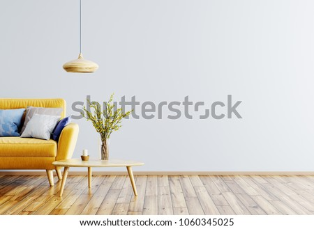 Stock Photo Modern interior of living room with yellow sofa, wooden coffee table and lamp 3d rendering