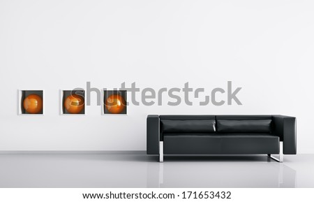 Modern interior of room with black sofa 3d render