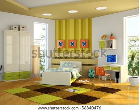 Modern interior of the child-room 3D rendering - stock photo