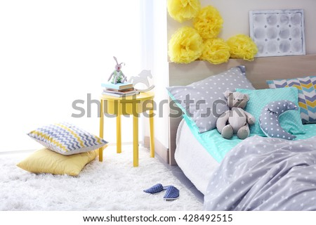 Modern interior of the child's bedroom #428492515