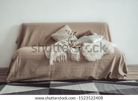 Modern interior of the living room with a sofa and decorative items . Decorative pillows and blankets. Coziness and comfort at home . #1523522408