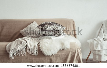 Modern interior of the living room with a sofa and decorative items . Decorative pillows and blankets. Coziness and comfort at home . #1536674801