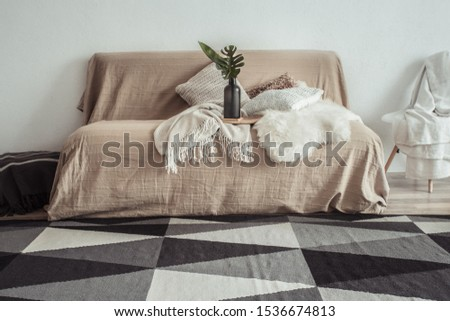 Modern interior of the living room with a sofa and decorative items . Decorative pillows and blankets. Coziness and comfort at home . #1536674813