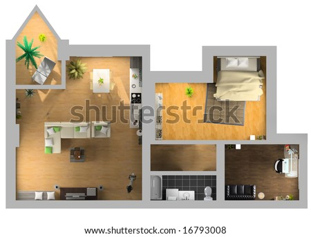 modern interior on the top view (private apartment 3d rendering)