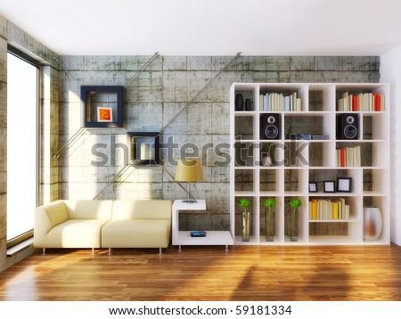 modern interior room with beige furniture and concrete wall