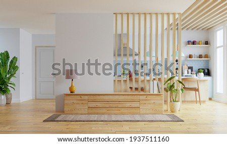 Modern interior room with furniture,TV room,Office room,Dining room,The kitchen.3d rendering