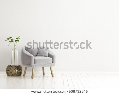 modern interior room with nice furniture. 3d illustration