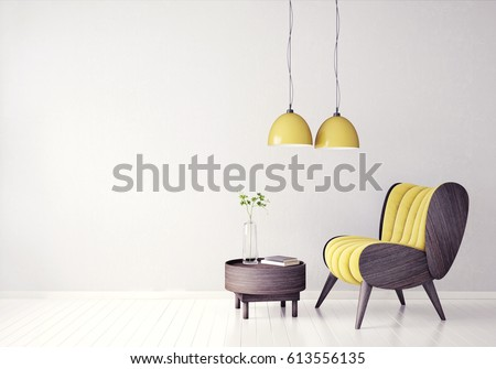 Shutterstock modern interior room with nice furniture. 3d illustration